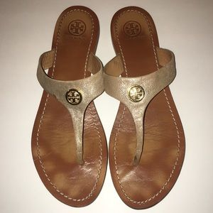 Tory Burch Iconic Gold Leather Sandals Flip Flops